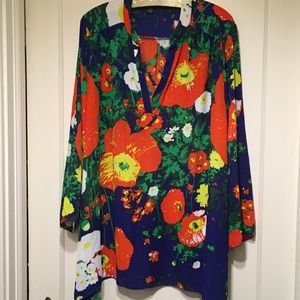 New Direction Tunic Sz 1X Bright Floral L Sleeves